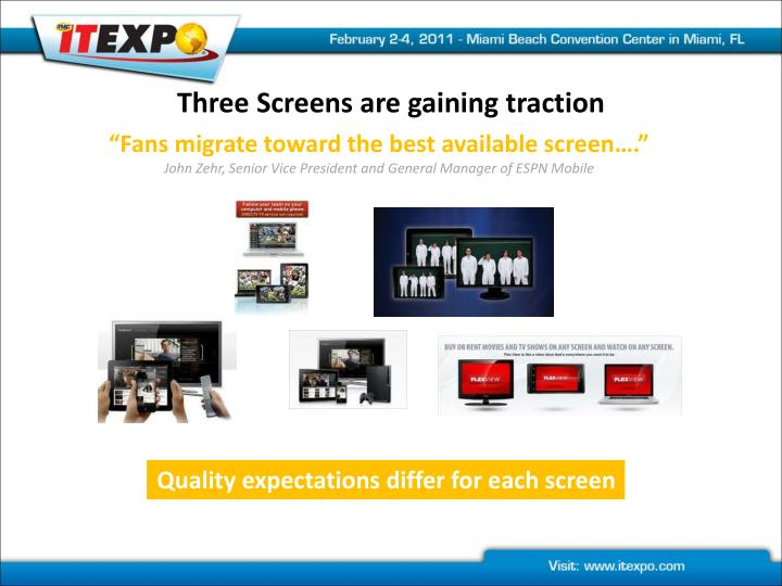 Three screens are gaining traction