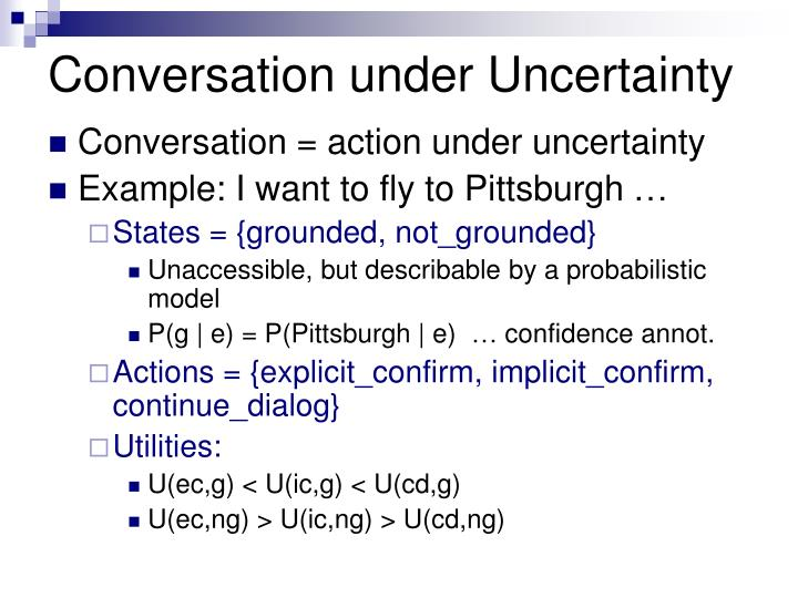 Conversation under Uncertainty