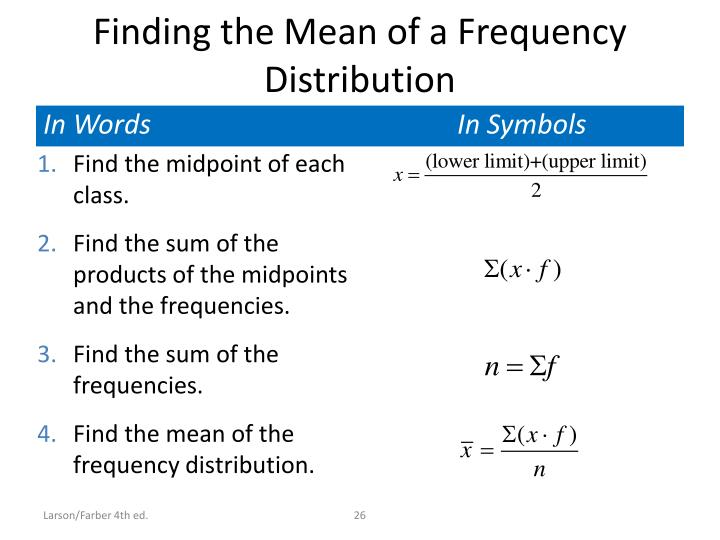 Finding the Mean of a Frequency Distribution
