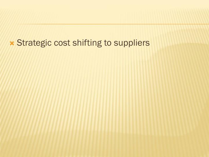 Strategic cost shifting to suppliers
