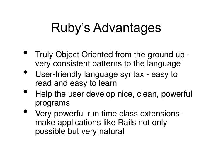 Ruby's Advantages