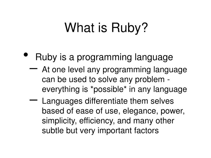 What is Ruby?