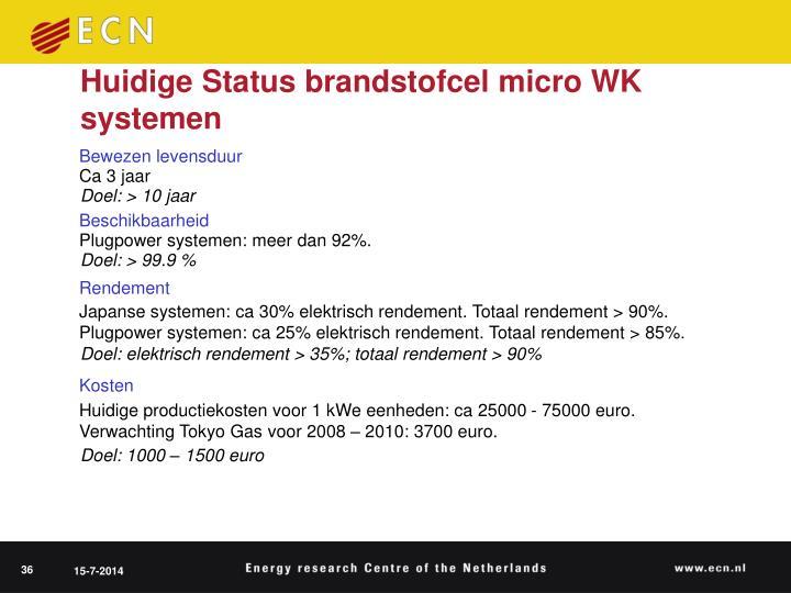 Huidige Status brandstofcel micro WK systemen
