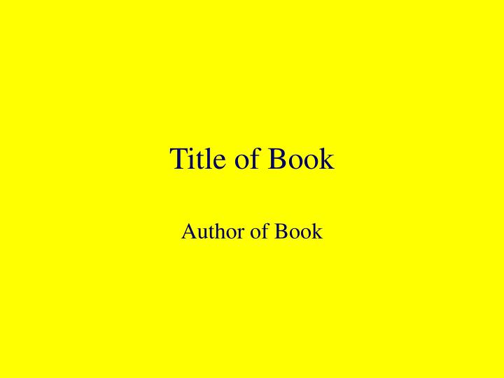 Title of Book
