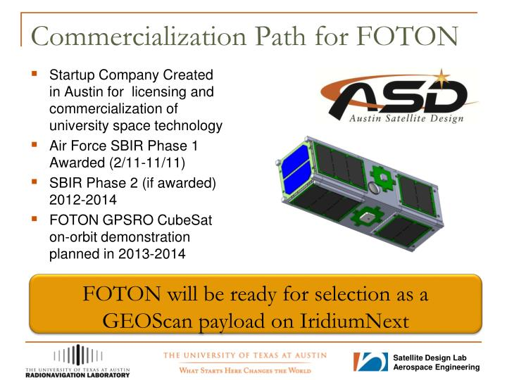 Commercialization Path for FOTON