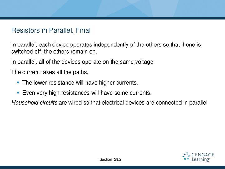 Resistors in Parallel, Final