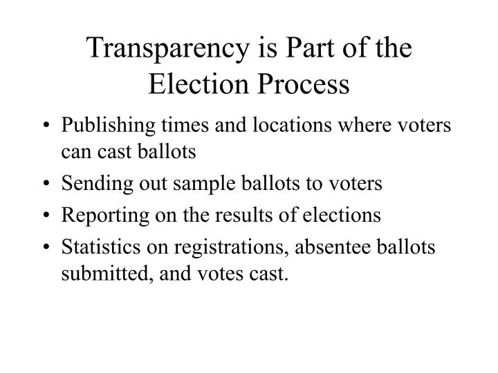 Transparency is Part of the Election Process