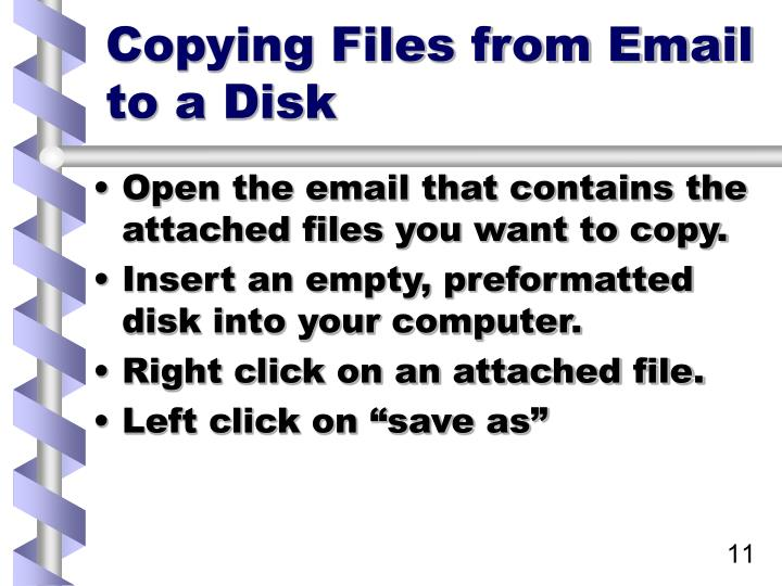 Copying Files from Email to a Disk