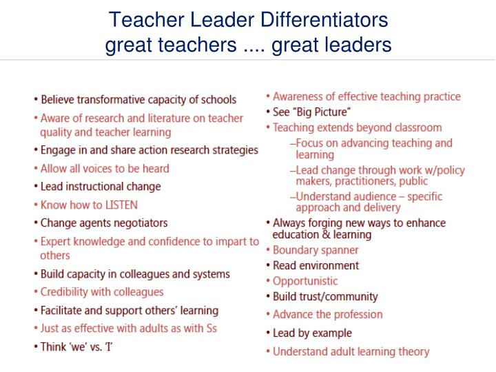 Teacher Leader Differentiators