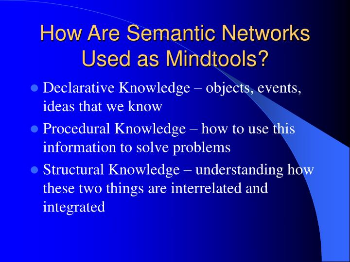 How Are Semantic Networks Used as Mindtools?