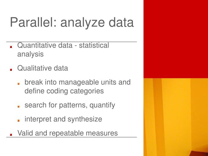 Parallel: analyze data