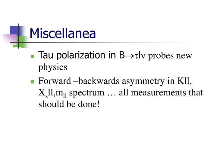 Miscellanea