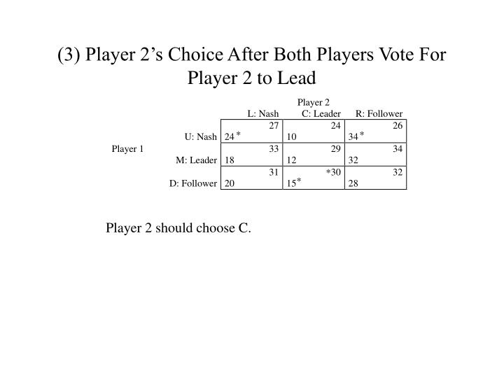 (3) Player 2's Choice After Both Players Vote For Player 2 to Lead