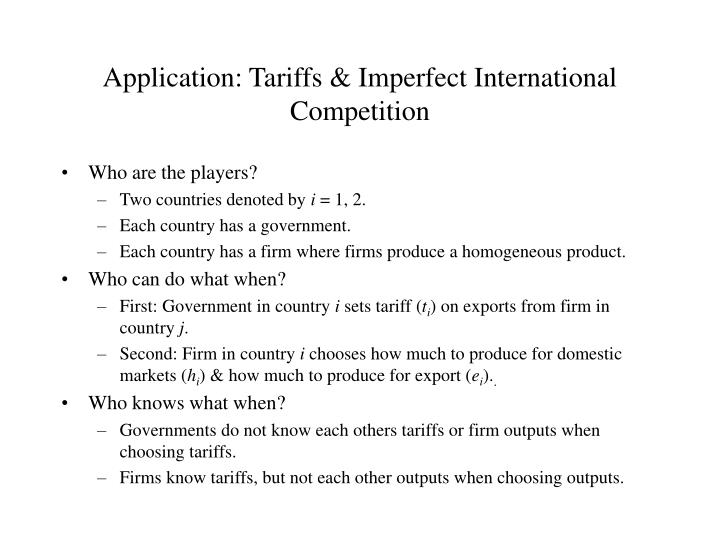 Application: Tariffs & Imperfect International Competition
