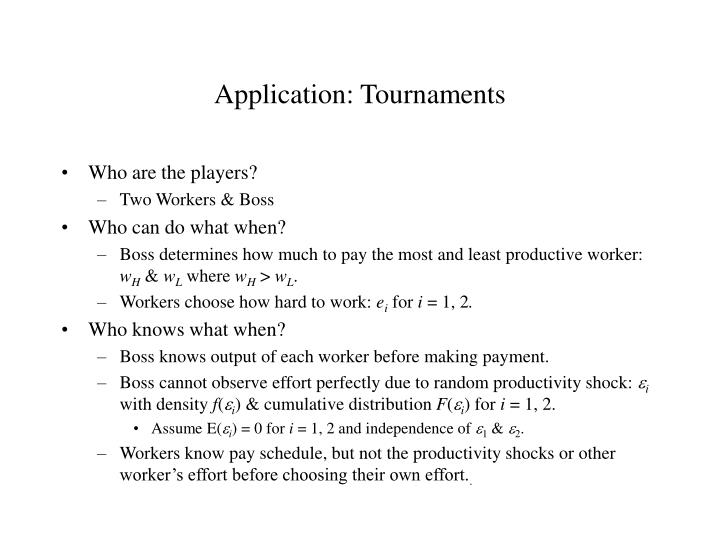 Application: Tournaments