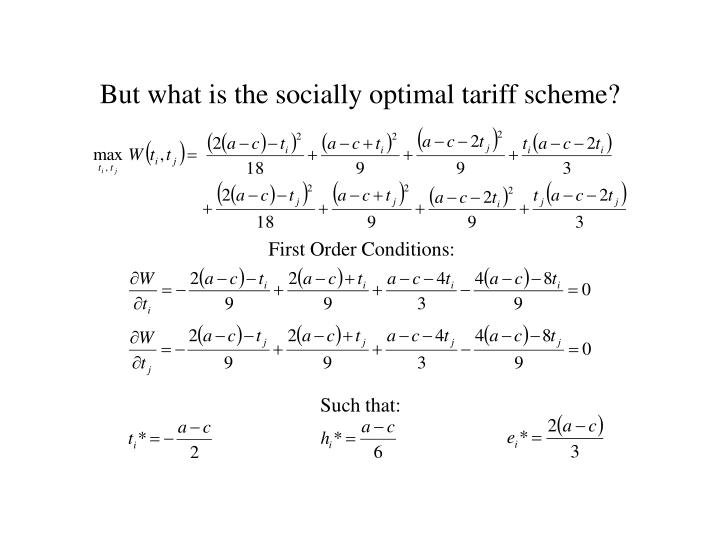 But what is the socially optimal tariff scheme?