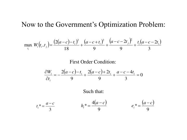Now to the Government's Optimization Problem: