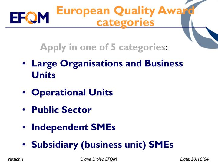 European Quality Award categories