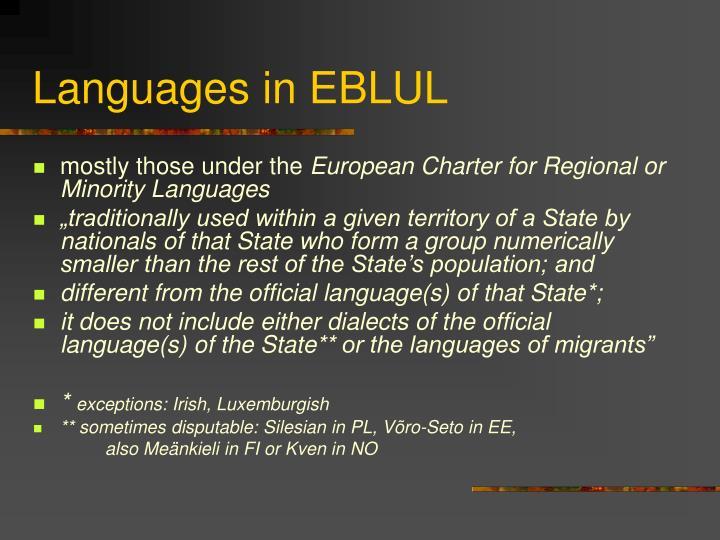 Languages in EBLUL
