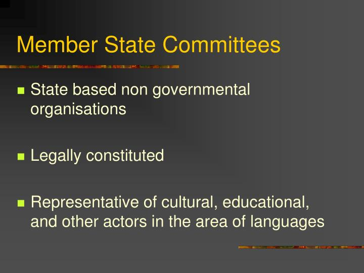Member State Committees