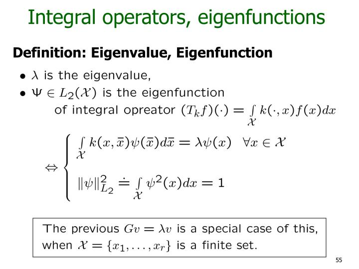Integral operators, eigenfunctions