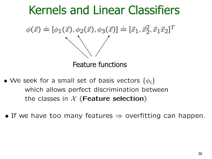 Kernels and Linear Classifiers