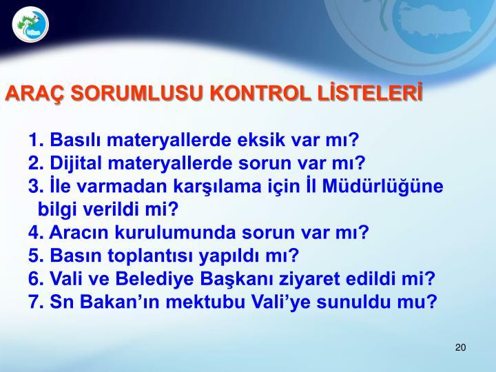 ARAÇ SORUMLUSU KONTROL LİSTELERİ