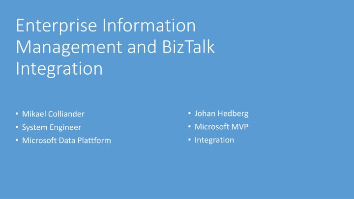 Enterprise Information Management and BizTalk Integration