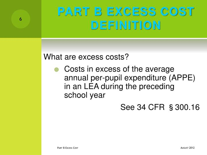 PART B EXCESS COST