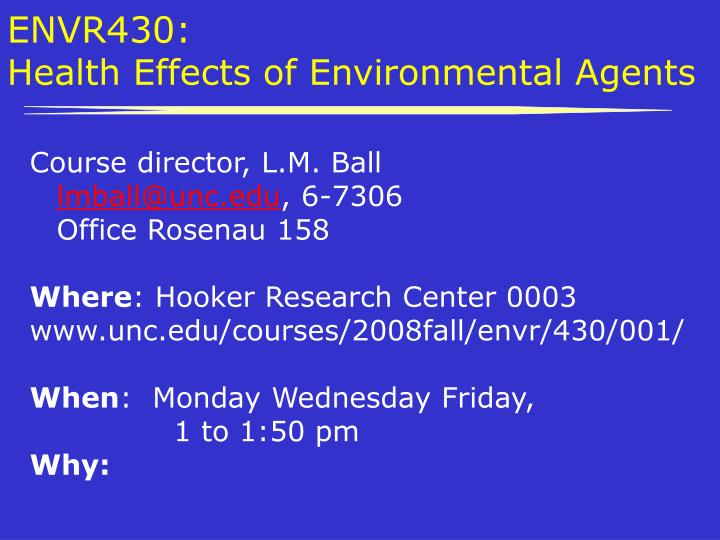 envr430 health effects of environmental agents