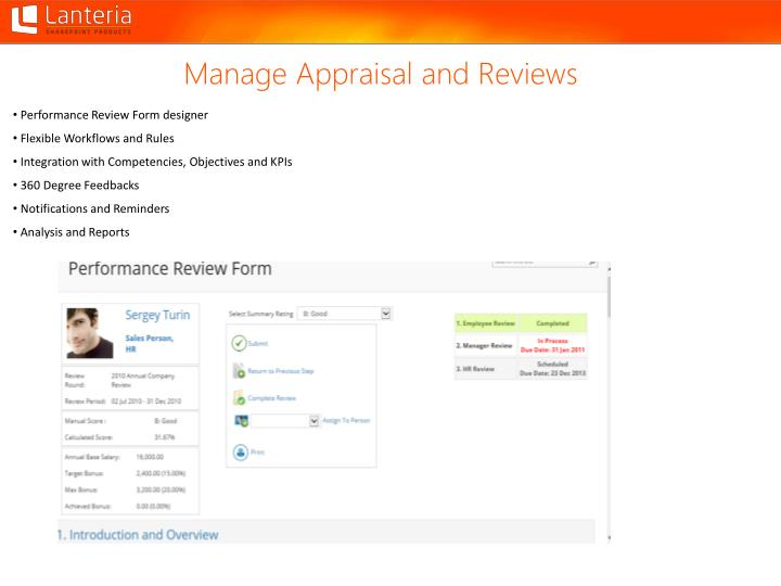Manage Appraisal and Reviews