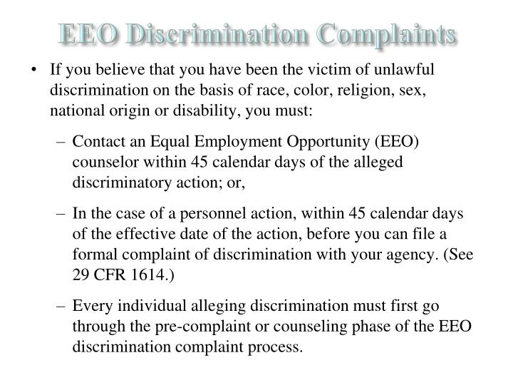 EEO Discrimination Complaints