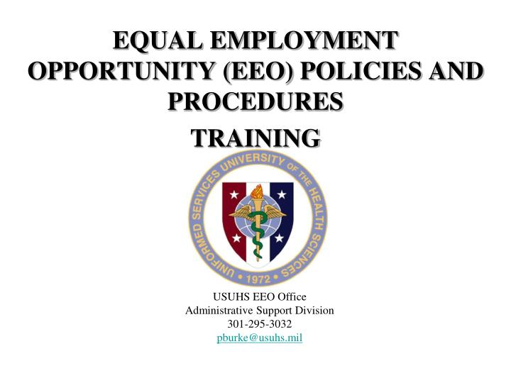 Equal employment opportunity eeo policies and procedures training