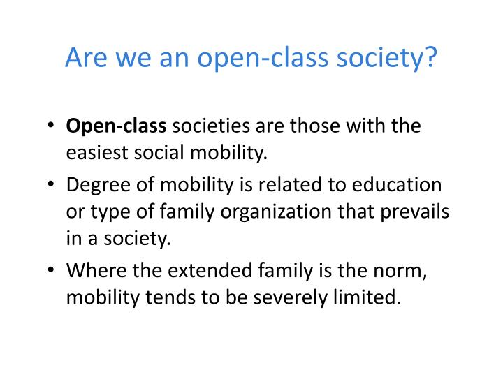 Are we an open-class society?