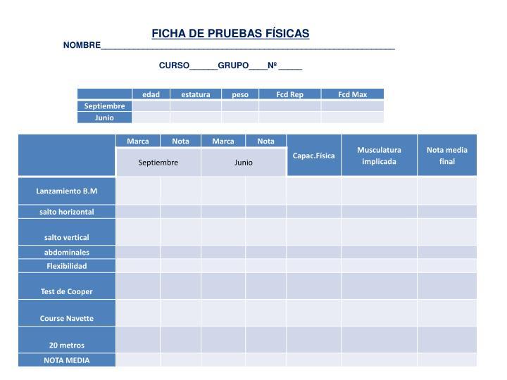 FICHA DE PRUEBAS FÍSICAS