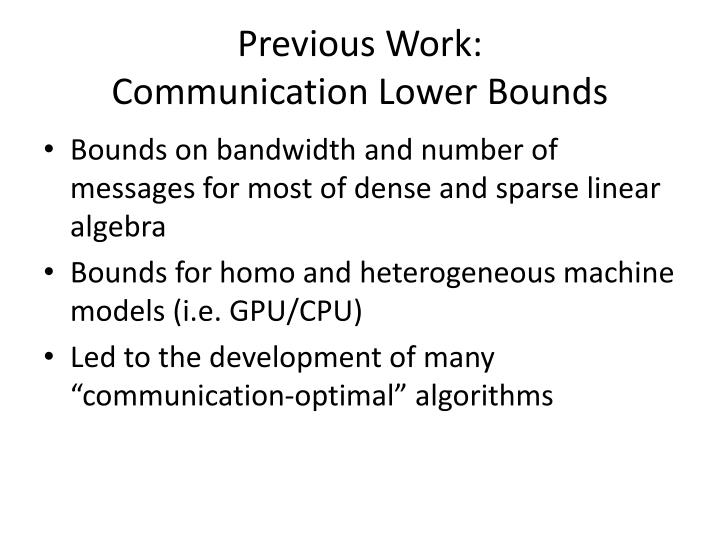 Previous work communication lower bounds