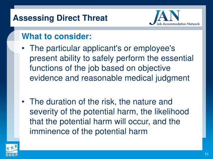 Assessing Direct Threat