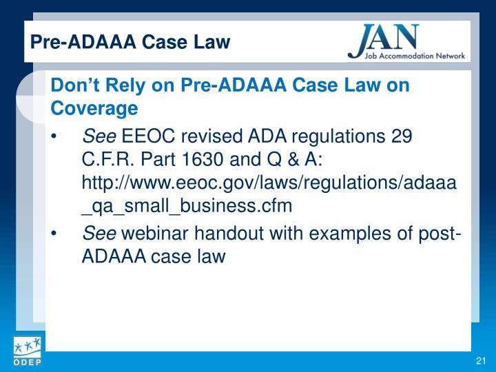 Pre-ADAAA Case Law