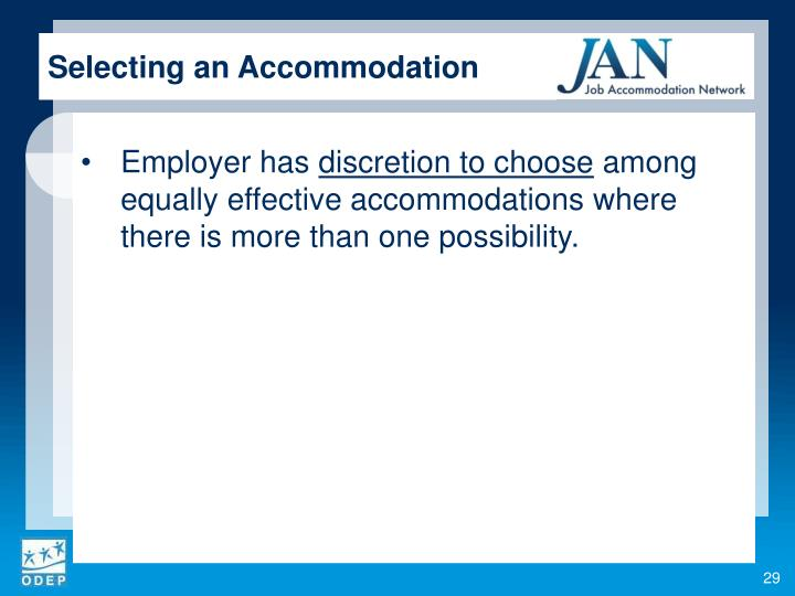 Selecting an Accommodation