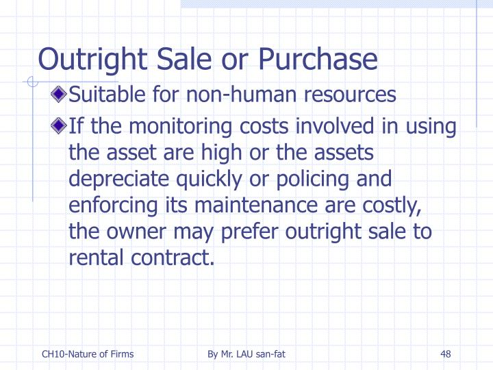 Outright Sale or Purchase