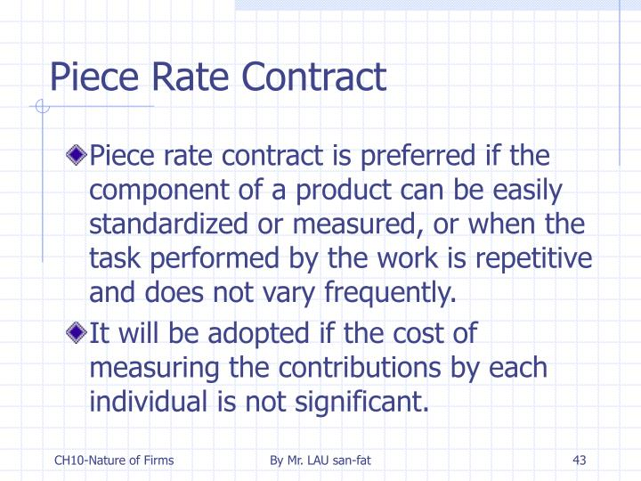 Piece Rate Contract