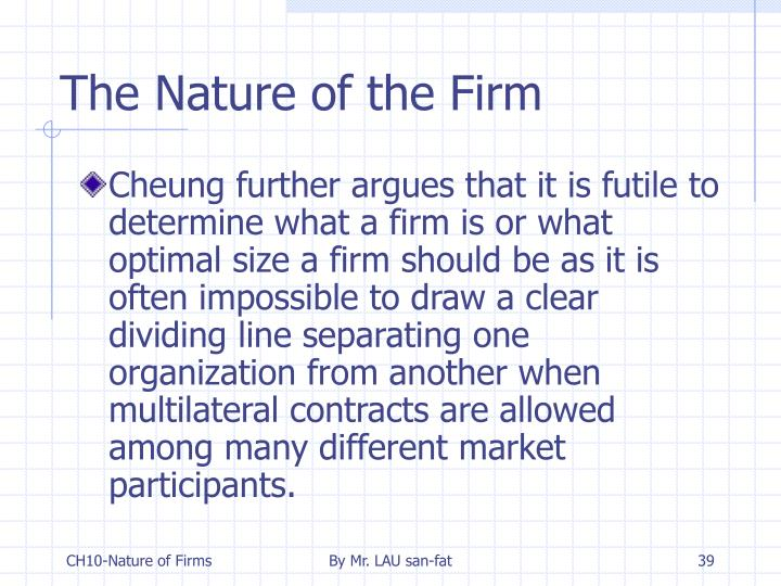 The Nature of the Firm