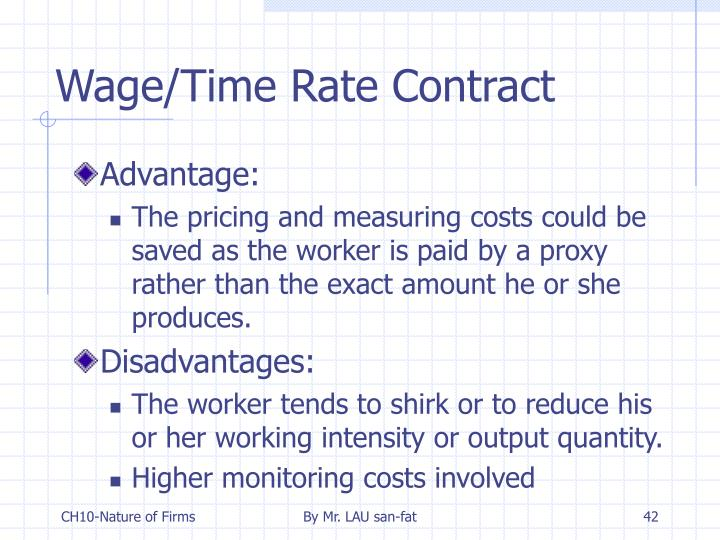Wage/Time Rate Contract