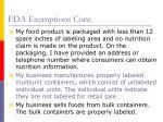 fda exemptions cont