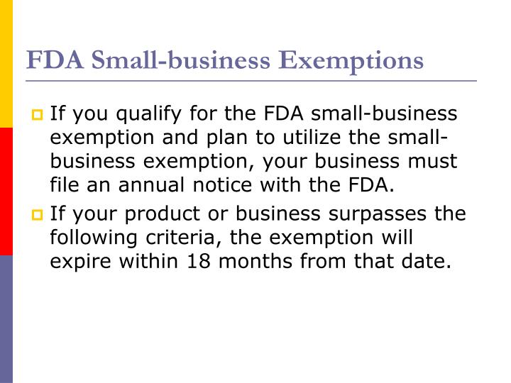FDA Small-business Exemptions