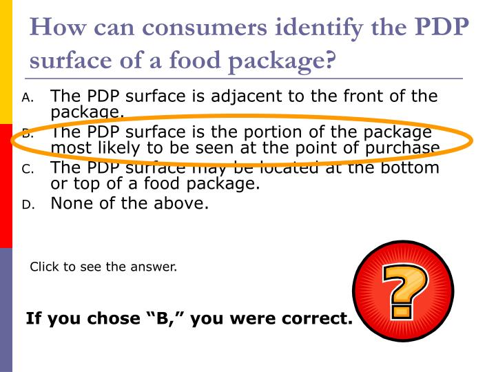 How can consumers identify the PDP surface of a food package?