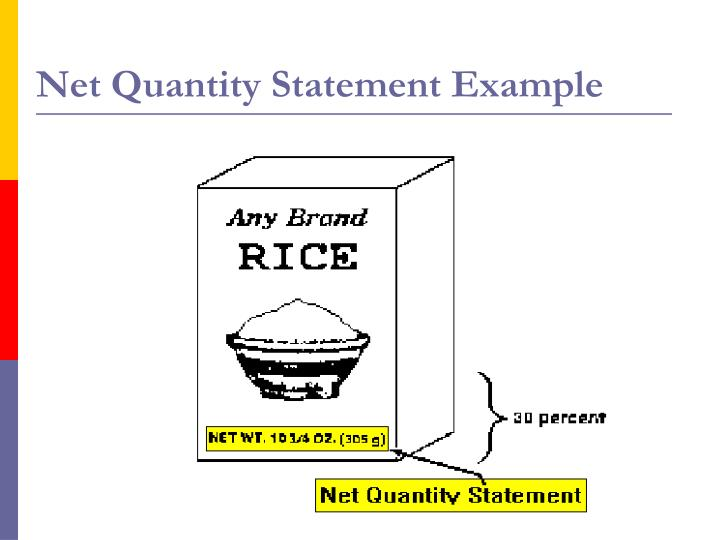 Net Quantity Statement Example