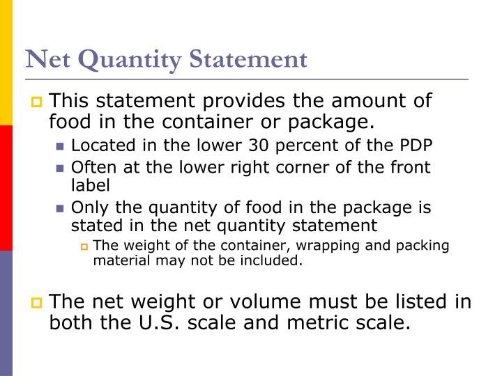 Net Quantity Statement