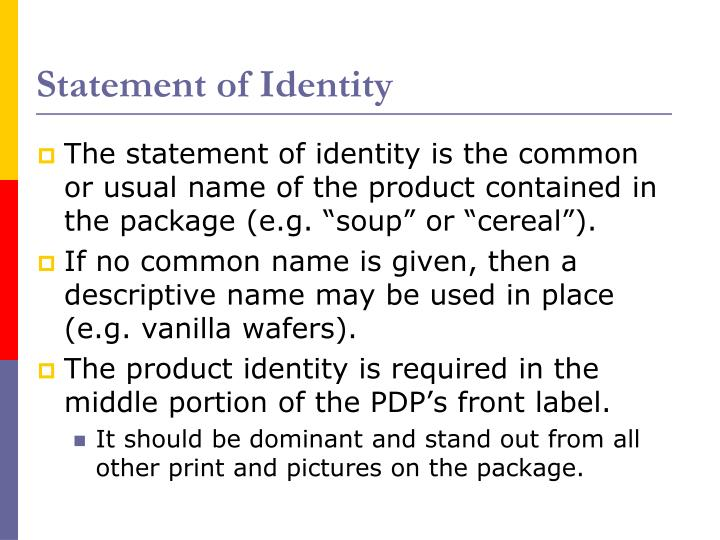 Statement of Identity