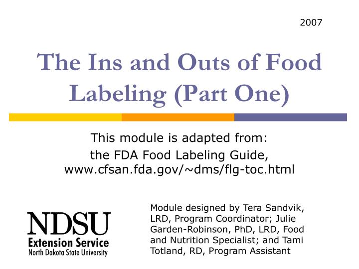 The ins and outs of food labeling part one